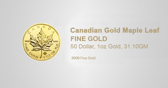 Canadian Gold Maple Leaf, 50 Dollar, 1oz Gold